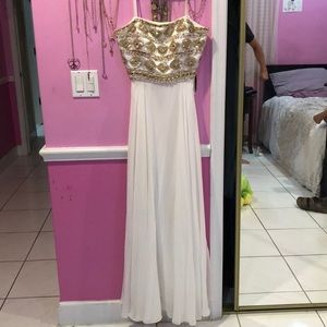 Strapless white and gold prom dress or gown